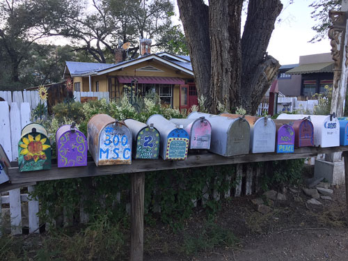 Mail boxes along New Mexico 14 through Madrid NM.