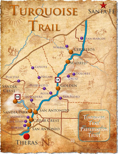 Madrid is located on The Turquoise Trail.