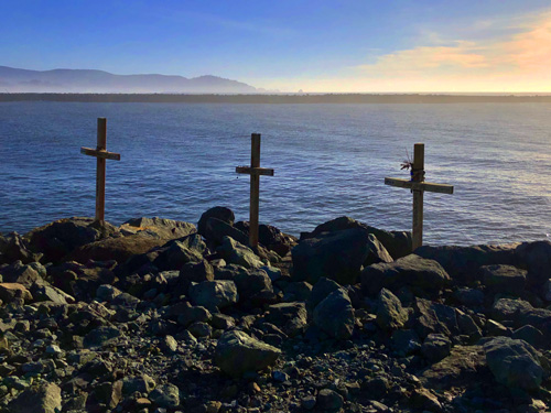 The three crosses on the jetty at Barview Jetty Park Campground are a memorial to a crab boat that capsized back in 2006.