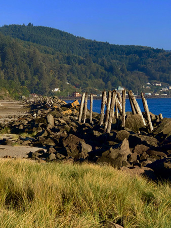 Remnants of an old pier at Barview Jetty Park campground.