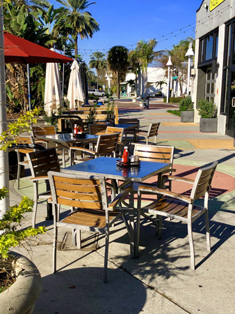 Outdoor seating at the Genaro Cafe on Central Avenue in downtown St Pete FL.