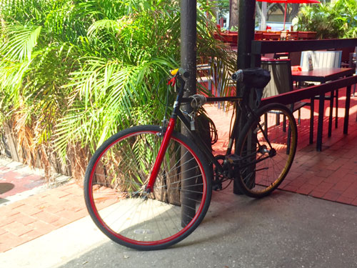 A lot of people ride bikes to breakfast in downtown St Pete.