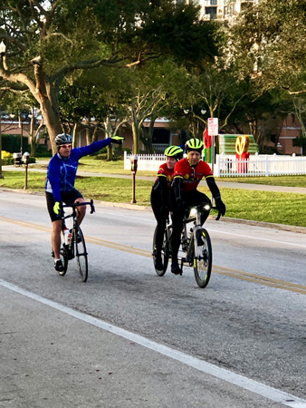 Bike riders on Christmas Morning in St Pete FL.