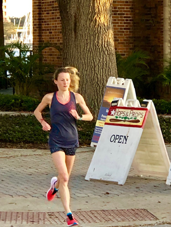 Sprinting on Christmas morning in downtown St Petersburg Florida.