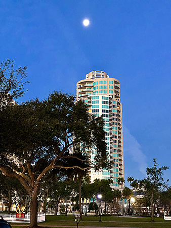 Moon over high rise apartments on Christmas morning in St Pete FL.