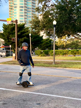 Riding a $1200 SkootRider  on Christmas morning in St Petersburg FL.