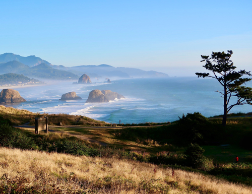 Scenic view of Cannon Beach with Haystack Rock in the far background. Ecola State Park overview.