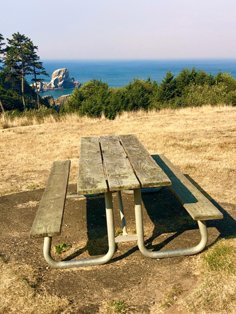 Picnic Table at Ecola State park.