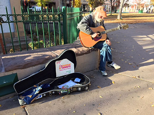Mark, who serenades visitors with soft mellow tunes, has a graduate degree from MIT.