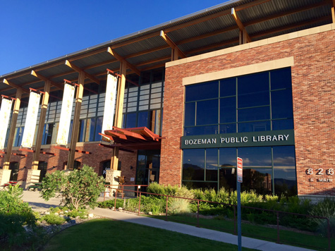 The Bozeman Public Library. A beautiful place to relax. The Gallagator Trail starts behind here.