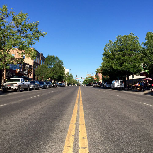 Main Street is very quiet in the early morning in Bozeman Montana.
