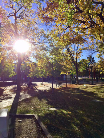Morning on Santa Fe Plaza is a magical time for your spirit.