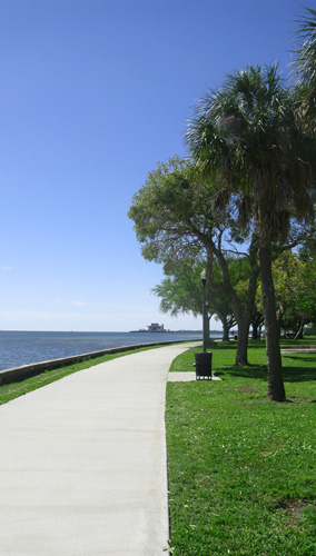 Looking south along the waterfront park walkway. A beautiful day to be a snowbird in St Pete.