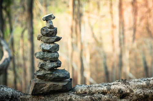 Stacking stones in the woods or forest is not as prevalent as on the beach, but you can still find many of these small zen alters if you look.
