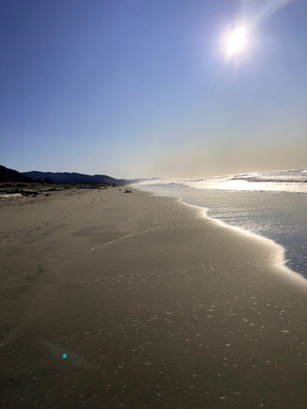Looking south on Thanksgiving Day on Rockaway Beach.