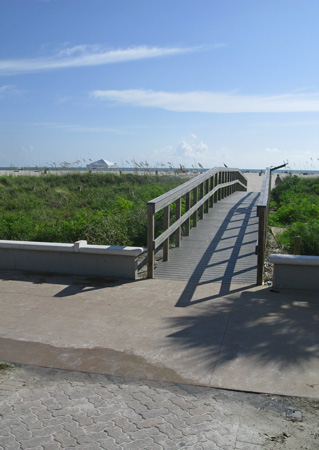 Sand dune walkove located at the start of the Treasure Island Beach Trail near Gulf Front Park.