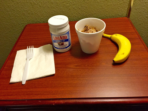 My breakfast on Day 2 of my trip to Bozeman Montana. A banana, some slow-cooked pork, and a couple of forkfulls of coconut oil.