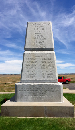 Memorial to the soldiers and officers of the 7th Calvary who died at the Battle Of Little Big Horn.