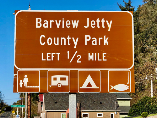Barview Jetty Park is easy to find. This is the sign you'll see coming to the campgrounds from the south.