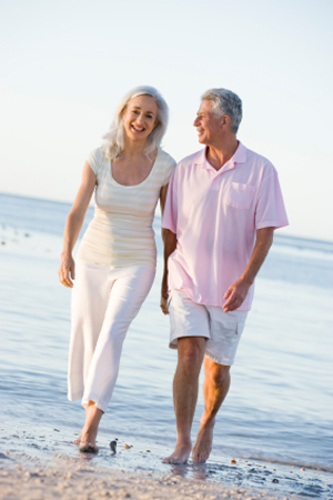 Walking and talking is excellent for keeping your brain engaged, The beach can benefit cognitive maintenance.