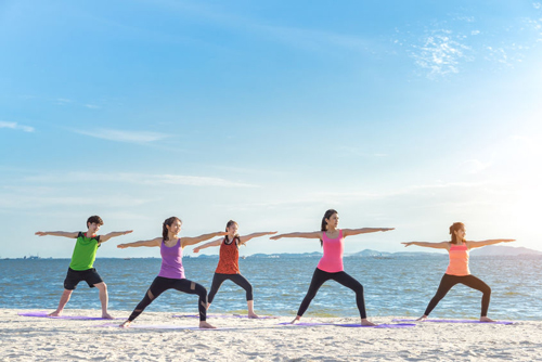 One of the benefits of the beach is it is so conducive to group exercise.