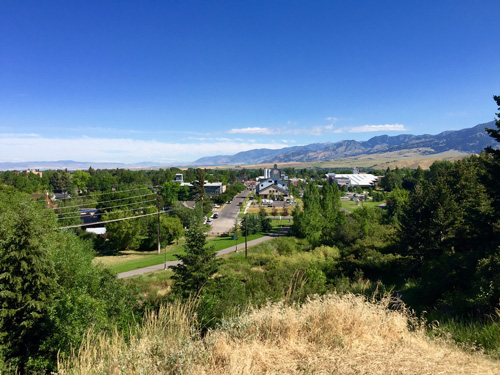 Beautiful view north from Peet's Hill in Bozeman MT.